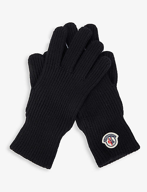 MONCLER: Logo-motif virgin wool gloves