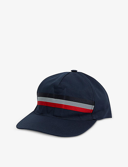 MONCLER: Beretto striped cotton baseball cap