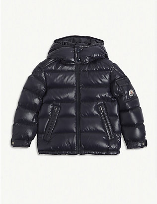 MONCLER: Padded shell-down hooded coat 4-14 years