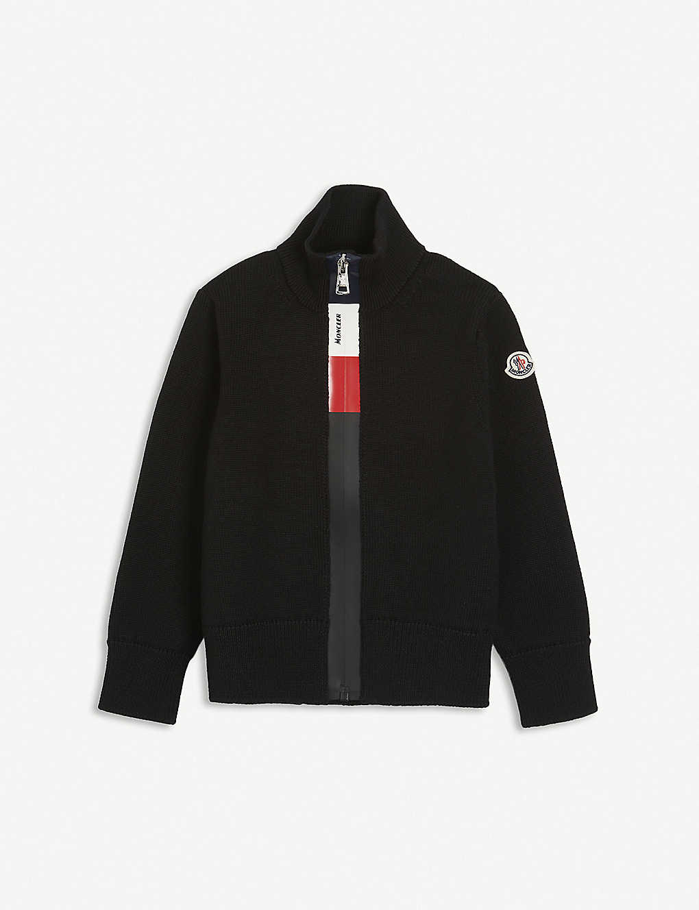 MONCLER: Branded funnel-neck wool cardigan 4-14 years