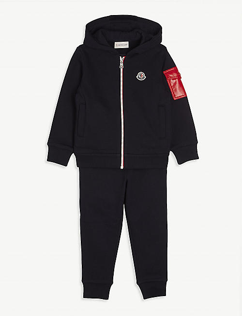 MONCLER: Logo-print cotton tracksuit 4-14 years