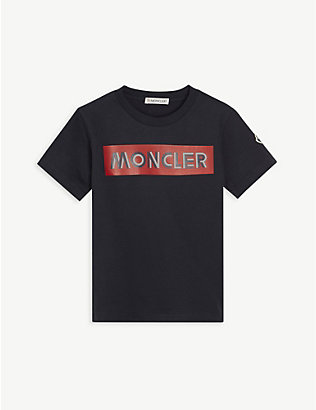 MONCLER: Logo-print cotton T-shirt 4-14 years