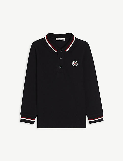 MONCLER: Branded long-sleeved cotton polo shirt 4-14 years