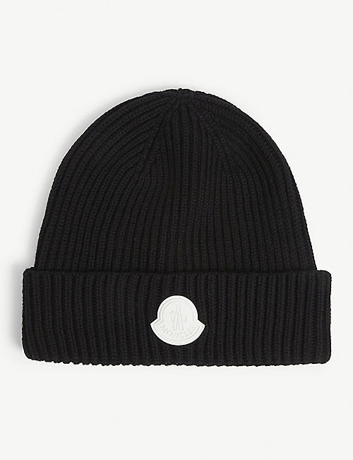 MONCLER: Branded wool beanie