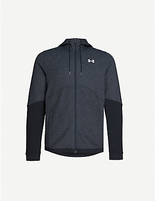 UNDER ARMOUR: Logo-print cotton-blend jersey hoody