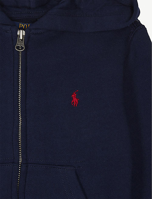 RALPH LAUREN Logo-embroidered zip-up cotton-blend hoody 7 years