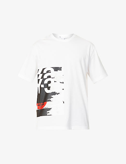 Y3: Graphic-print cotton-jersey T-shirt