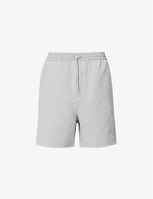 Y3: Logo-print cotton-jersey shorts