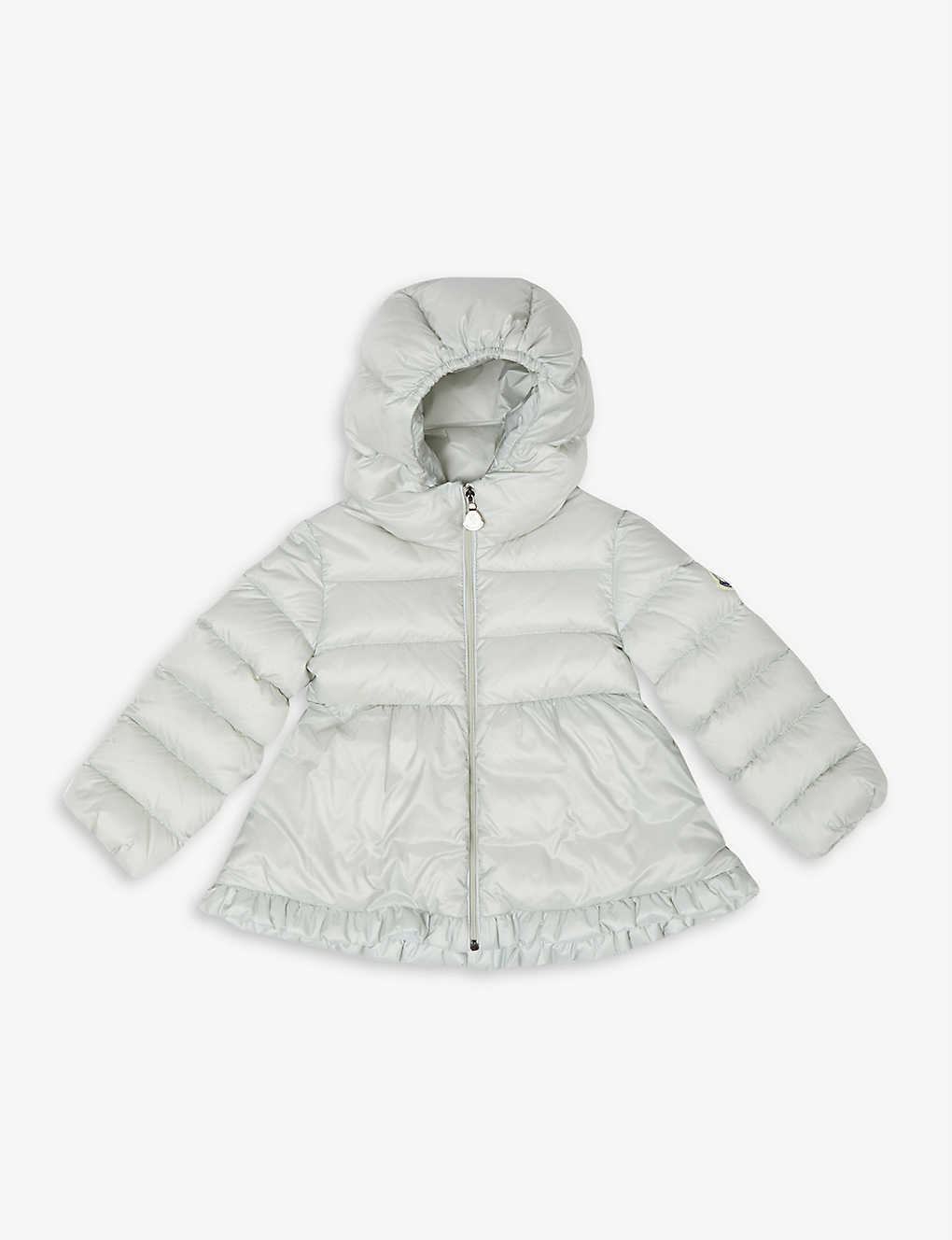 MONCLER: Odile quilted satin frill-trimmed puffer jacket 3-36 months