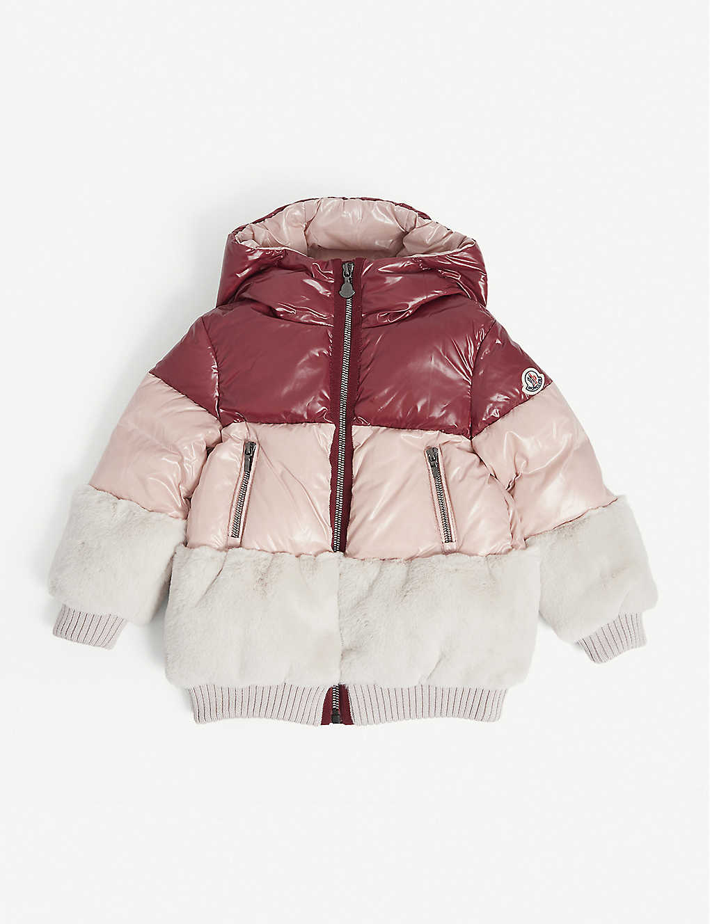 MONCLER: Logo-dec faux-fur puffer jacket 4-14 years