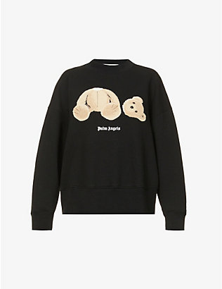 PALM ANGELS: Bear branded cotton-jersey sweatshirt
