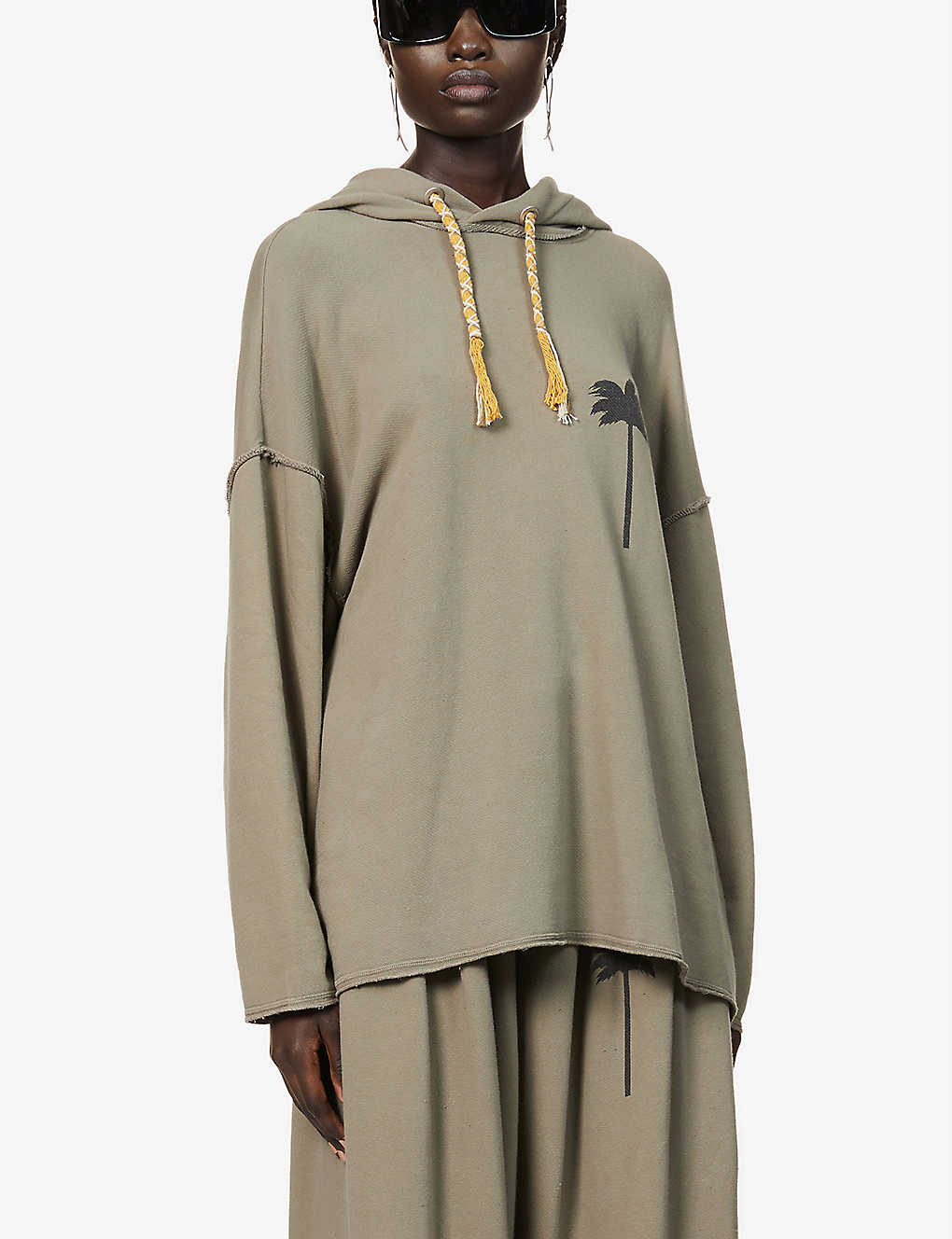 PALM ANGELS: Graphic-print oversized cotton-jersey hoody