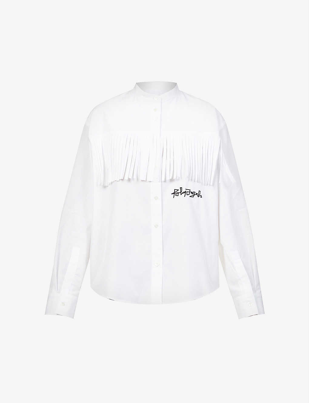 PALM ANGELS: Logo-embroidered fringed cotton-poplin shirt