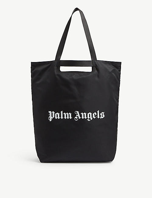 PALM ANGELS: Logo-printed woven shopper tote bag