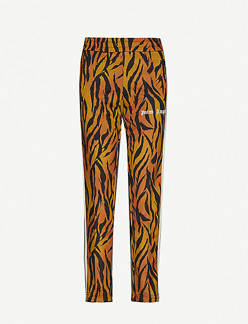 PALM ANGELS: Tiger-print straight-leg mid-rise jersey jogging bottoms
