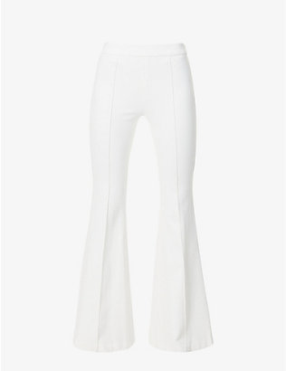ROSETTA GETTY: Flared mid-rise stretch-woven trousers