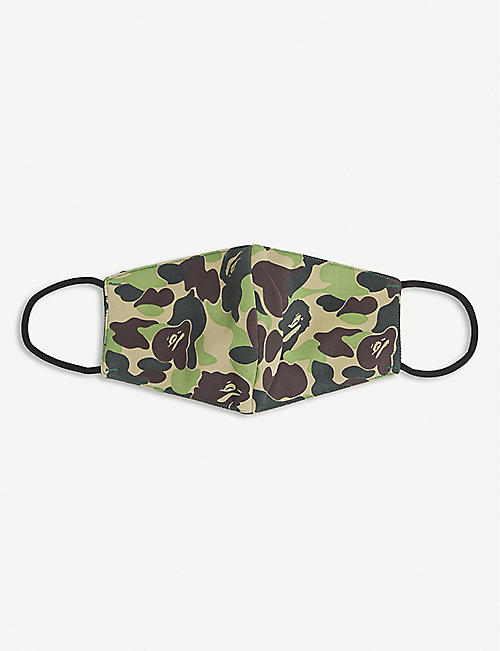 A BATHING APE: Camouflage-print woven face covering