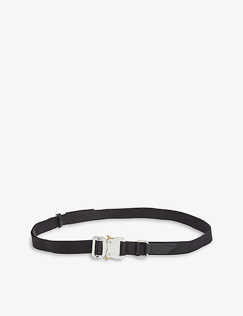 1017 ALYX 9SM: Rollercoaster buckled leather-trimmed woven belt