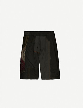 BY WALID: Nathan contrast-patchwork cotton shorts