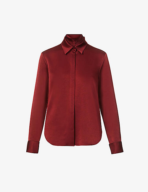 ALEX PERRY: Kristen satin-crepe shirt