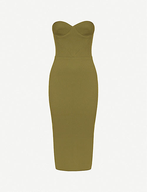 ALEX PERRY: Kye strapless sweetheart-neck crepe midi dress