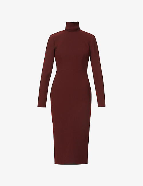 ALEX PERRY: Lauchlan turtleneck crepe midi dress