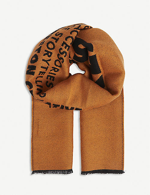 HERON PRESTON: Logo wool scarf