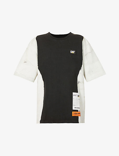 HERON PRESTON: Heron Preston x Caterpillar oversized bleach-dye cotton-jersey T-shirt