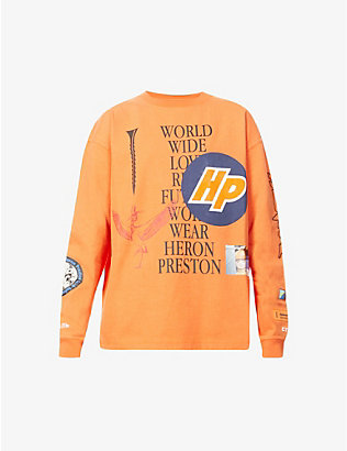 HERON PRESTON: Collage graphic-print cotton-jersey T-shirt