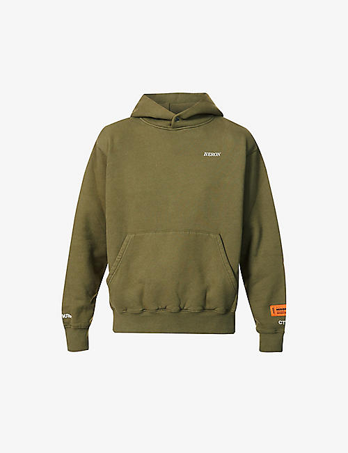 HERON PRESTON: Logo-embroidered cotton-jersey hoody