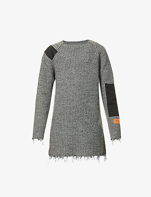 HERON PRESTON: Raw-edge wool mini dress