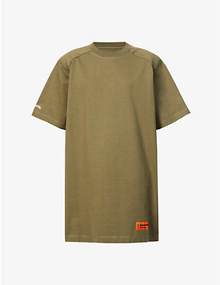 HERON PRESTON: Branded cotton-blend T-shirt mini dress