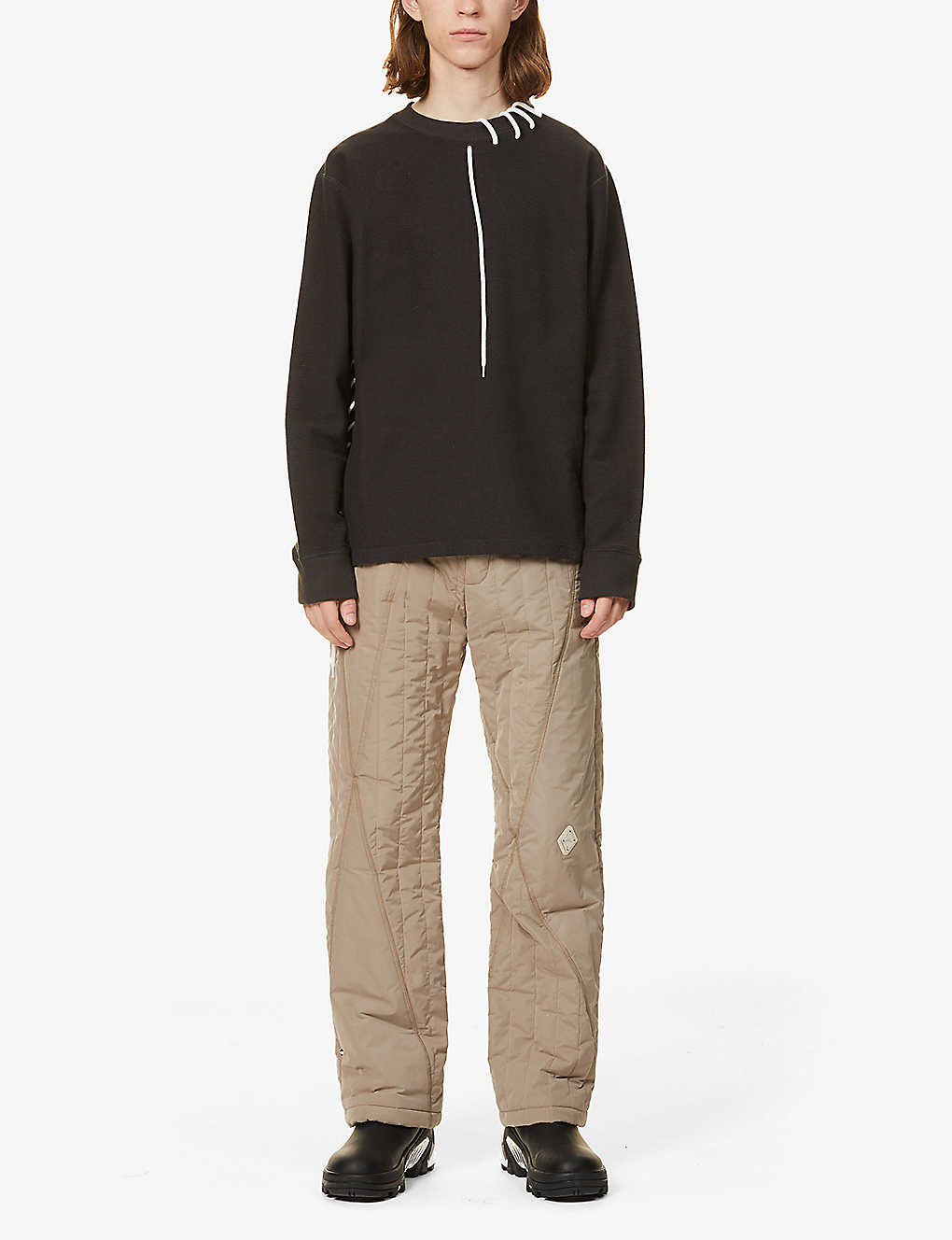 CRAIG GREEN: Laced cotton-jersey sweatshirt