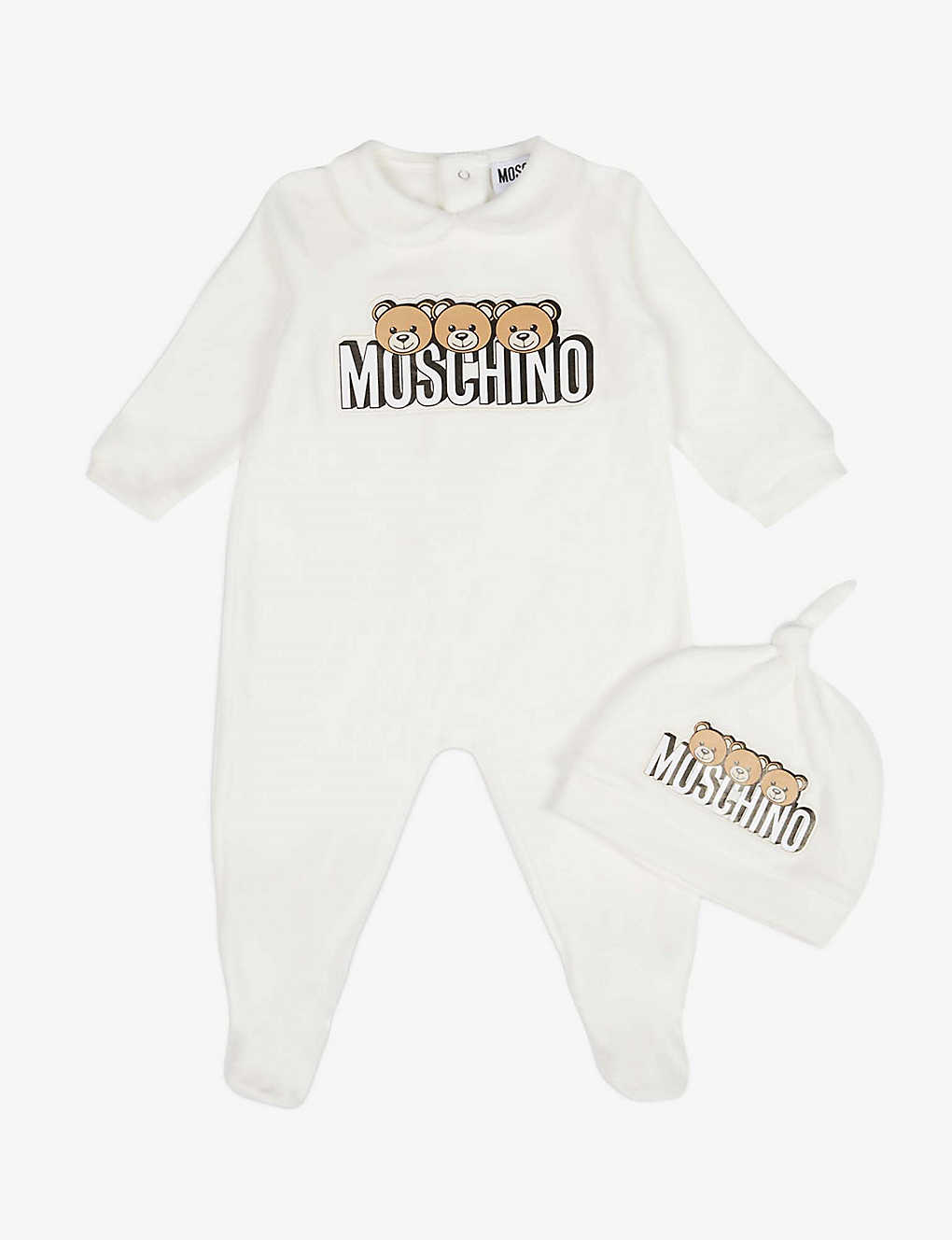 MOSCHINO: Branded cotton-blend velour babygrow and hat set 1-12 months