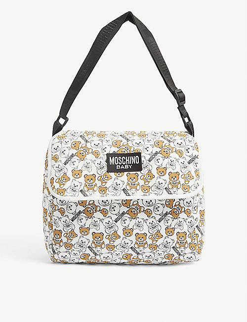 MOSCHINO: Bu Bear brand-print cotton-blend changing bag