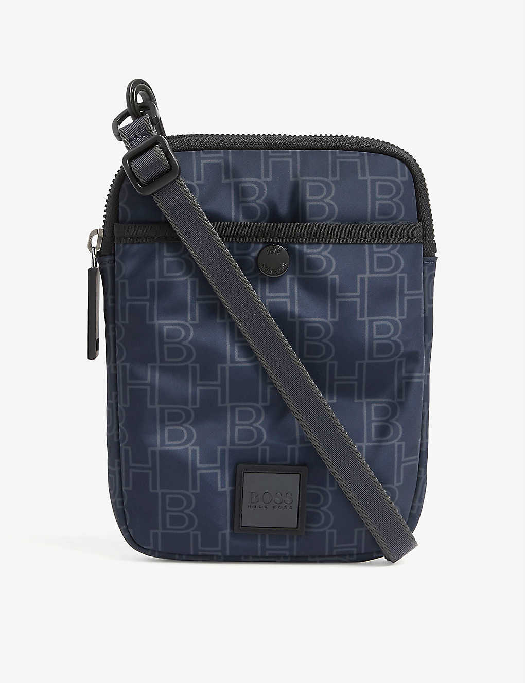 BOSS: Logo-print cross-body nylon bag