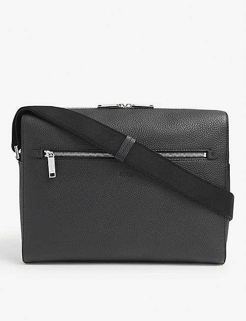 BOSS: Crosstown leather laptop bag