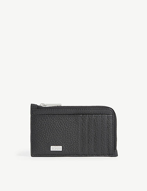 BOSS: Crosstown grained leather zip card holder