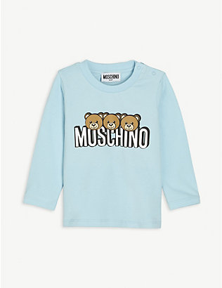 MOSCHINO: Bear-print long-sleeved cotton T-shirt 3-36 months