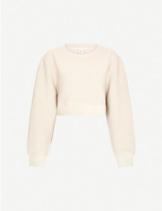 VARLEY: Albata cropped cotton-blend jersey sweatshirt