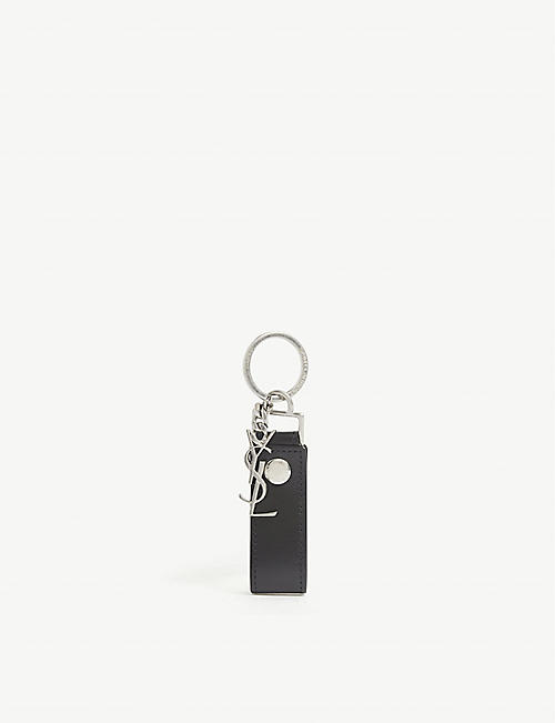 SAINT LAURENT: Branded leather keychain