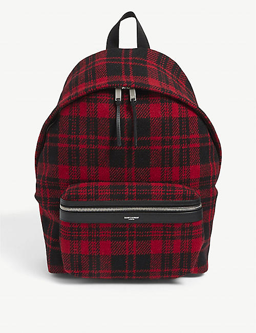 SAINT LAURENT: City checked wool backpack