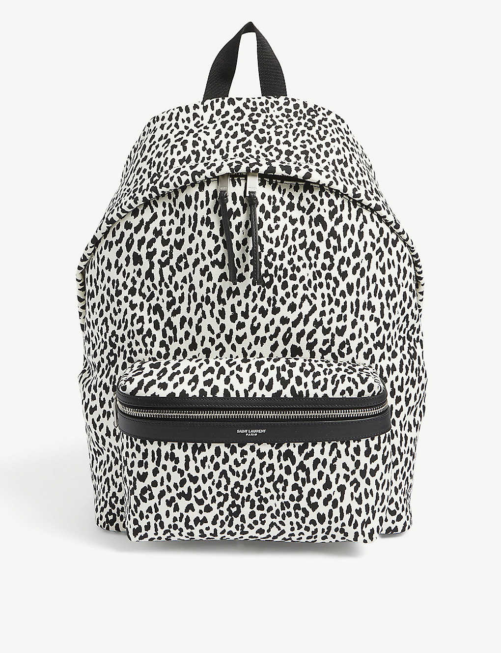 SAINT LAURENT: City leopard-print woven backpack