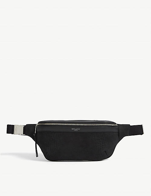 SAINT LAURENT: Croc-embossed matte leather belt bag