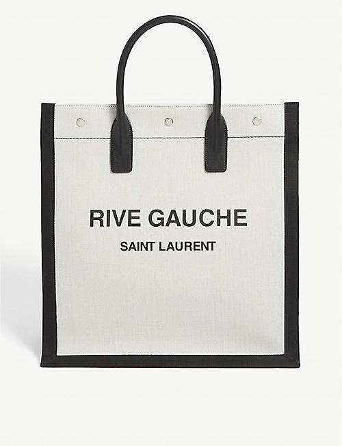 SAINT LAURENT: Rive Gauche linen-canvas tote