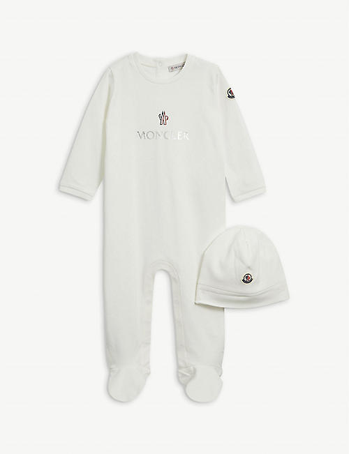MONCLER: Brand-badge cotton baby-grow set 1-12 months
