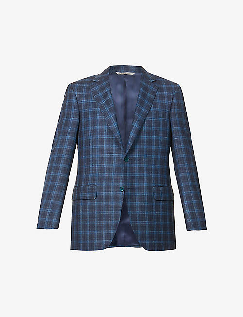 CANALI: Single-breasted checked wool, silk and linen-blend blazer