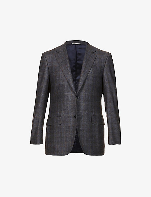 CANALI: Checked single-breasted wool-blend blazer