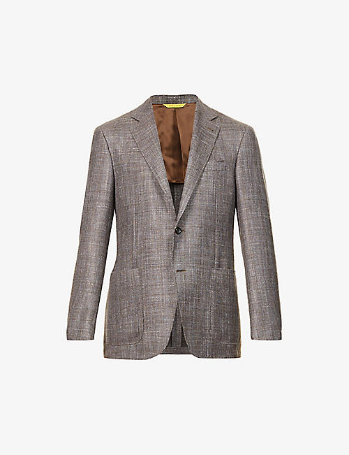 CANALI: Hopsack regular-fit wool, silk and linen-blend blazer