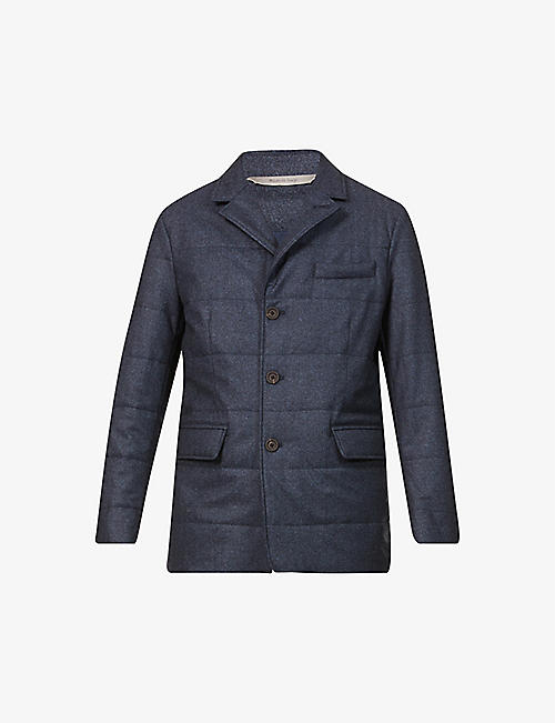 CANALI: Ribbed single-breasted wool blazer